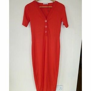 Zara || red long dress with chunky buttons
